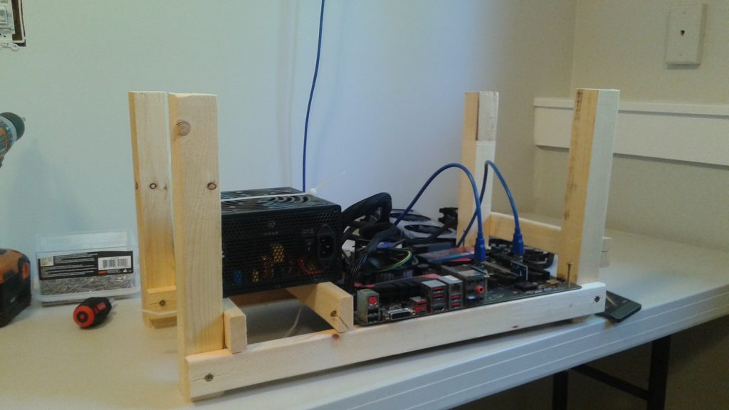 Build a $6 mining rig frame with wood and screws (and a few